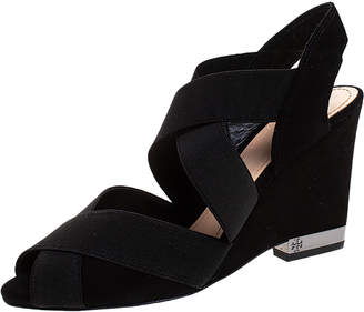 Tory Burch Black Suede Debbie Wedge Sandals Size 38.5