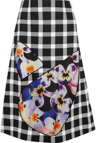 Christopher Kane Tulle-paneled Gingham Wool-blend Skirt - Black
