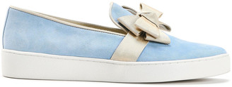 Michael Kors Collection Bow-embellished Grosgrain-trimmed Suede Slip-on Sneakers