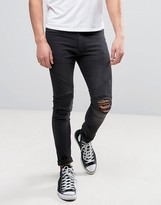 Religion Biker Jean With Rip Repair Knee Detail in Skinny Fit With Stretch
