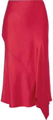 Jason Wu Asymmetric Draped Satin-crepe Midi Skirt