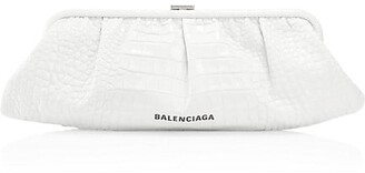 Balenciaga Extra-Large Cloud Croc-Embossed Leather Clutch