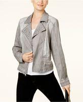 INC International Concepts Studded Denim Moto Jacket, Created for Macy's