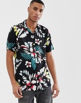 Le Breve floral short sleeve revere collar shirt