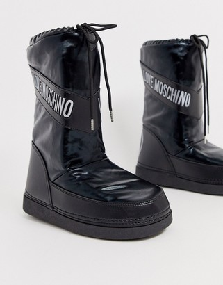Love Moschino peace logo snow boots-Black