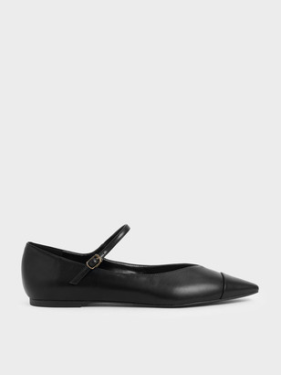 Charles & Keith Two-Tone Pointed Toe Mary Jane Flats