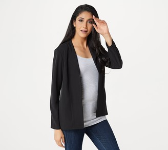 Logo by Lori Goldstein Tricotine Open Front Blazer with Ruffle