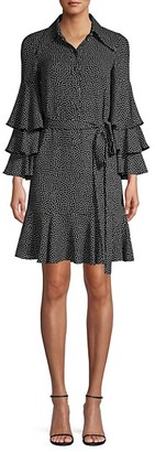 Michael Kors Silk Polka-Dot Tiered-Sleeve Shirtdress