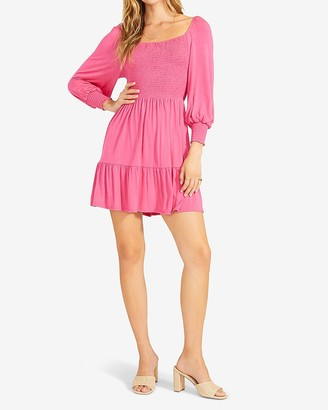 Express Bb Dakota Smocked Balloon Sleeve Mini Dress
