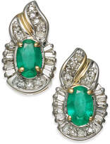 Macy's Emerald (1 ct. t.w.) & Diamond (1/4 ct. t.w.) Stud Earrings in 14k Gold