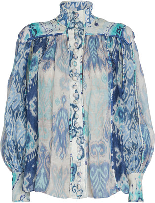 Zimmermann Glassy Ikat Silk-Linen Blouse