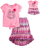 Dollie & Me Pink Owl Zig-Zag Skirt Set & Doll Outfit - Girls