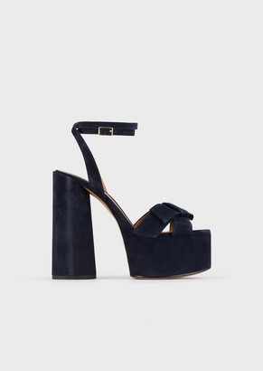 Emporio Armani Velour-Look Leather, Platform Sandals With Bow