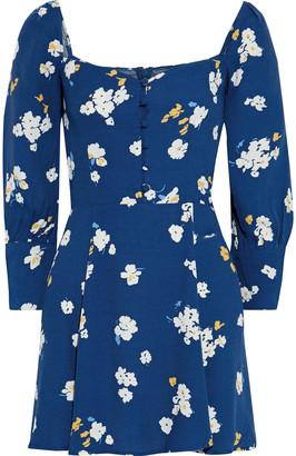 Reformation Shirred Polka-dot Crepe Mini Dress