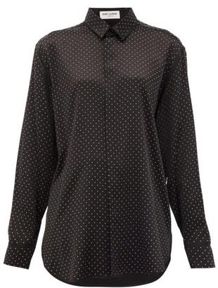 Saint Laurent Studded Silk Blouse - Black