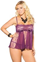 Shirley of Hollywood Full Figure Sexy Plus Size Lace and Net Panel Babydoll Lingerie