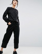 Asos Boyfriend Jeans With Organza Contrast Detail In Washed Black