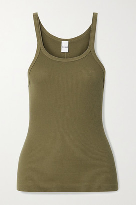 RE/DONE Ribbed Cotton-jersey Tank - Army green