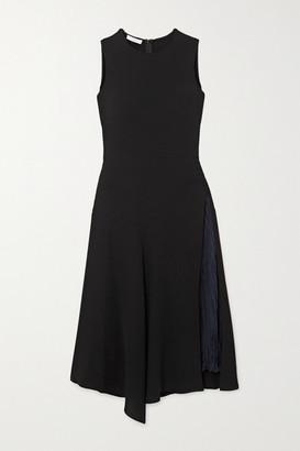 Vince Asymmetric Paneled Crepe And Hammered-satin Midi Dress - Black
