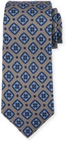 Kiton Diamond Medallion Silk Tie, Gray