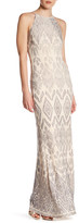 Jump Glitter Pattern High Neck Gown