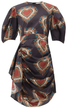 Rhode Resort Pia Ruched-waist Heart-print Cotton Dress - Womens - Black Print