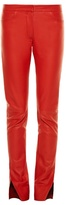 Loewe Mid-rise slit-hem leather trousers