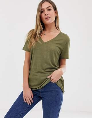 Asos Design DESIGN t-shirt in longline slubby rib in khaki-Green