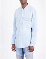 Balmain Band-collar Denim Shirt