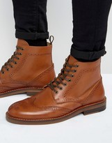 Asos Brogue Boots In Tan Leather With Natural Sole