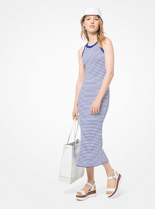Michael Kors Striped Viscose Halter Dress