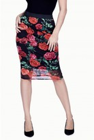 Select Fashion Fashion Rose Floral Midi Skirt Midi Skirts - size 6