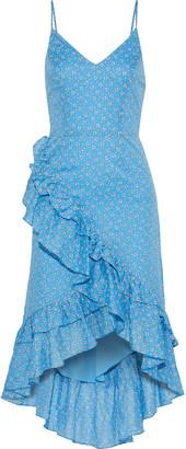 LoveShackFancy Maya Asymmetric Ruffle-trimmed Printed Cotton-gauze Dress
