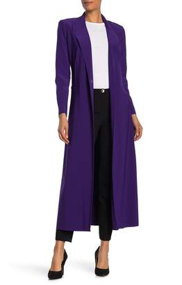 Norma Kamali Woven Single Button Trench Coat