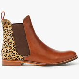Joules Westbourne Leather Chelsea Boots, Leopard