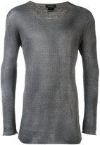Avant Toi round neck longsleeved T-shirt - men - Linen/Flax/Polyamide - XL