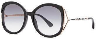 Jimmy Choo Lila Black Oval-frame Sunglasses