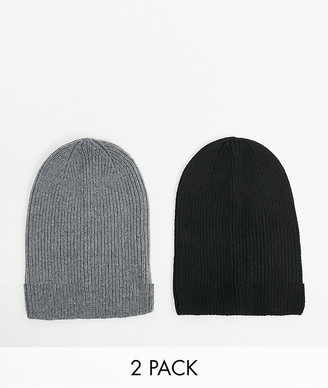 ASOS DESIGN 2 pack slouchy beanie in grey and black in recycled poly SAVE