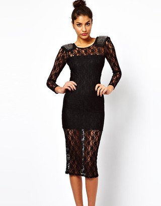 ASOS Exclusive Midi Dress In Lace With Studded Shoulders