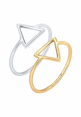 Elli Ring Triangle Bi-Colour Set Gold Plated 925 Sterling Silver