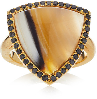 GUITA M 18K Gold Diamond and Agate Ring