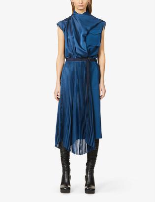 Sacai Pleated crepe midi dress