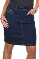 Ice Stretch Denim Mini Length Jeans Skirt Stitch Detail Indigo Blue