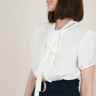 Molly Bracken Pussy Bow Peplum Blouse with Smocked Detail