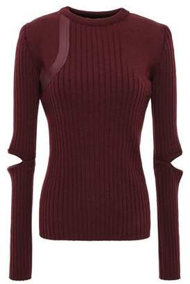 Nina Ricci Leather-trimmed Cutout Ribbed Wool-blend Sweater