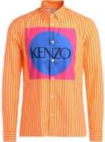 Kenzo Camicia in cotone arancione con logo multicolor