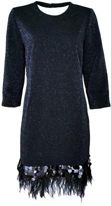 Lalipop Design Dark-Blue Sparkles On Black Fabric Knitted Dress