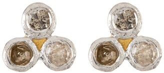 Forever Creations Usa Inc. White 18K Gold Vermeil Three Dot Diamond Stud Earrings - 0.12 ctw