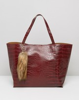 Glamorous Moc Croc Tote In Burgundy Croc With Faux Fur Fox Tail