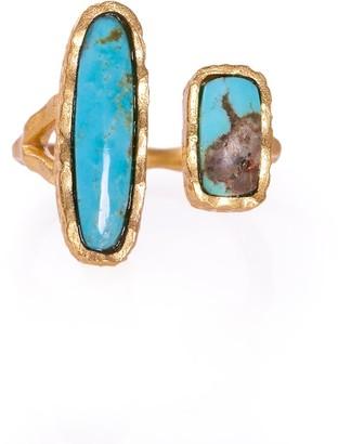 Christina Greene Deco Twin Stone Ring In Turquoise